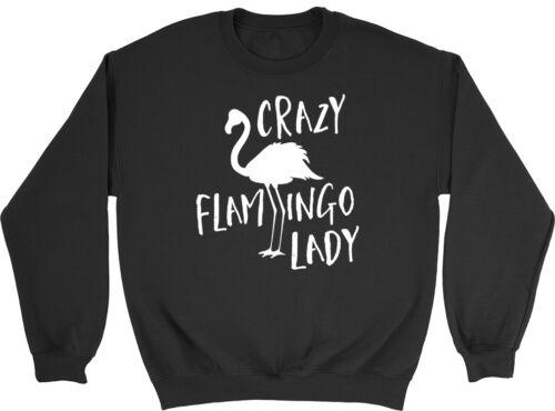 Crazy Flamingo Lady Womens Ladies Jumper Sweater Sweatshirt
