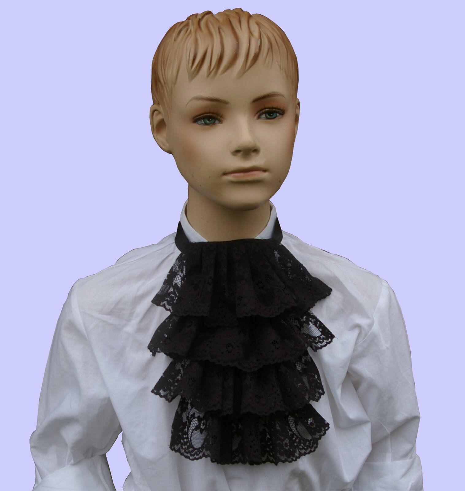 Boys Victorian Dickensian Georgian lace jabot steampunk (Black)