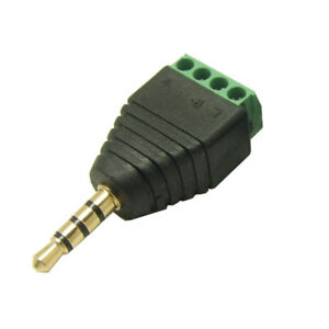 3.5mm Audio Stereo plug male to 4pin Terminal Block Connector ... on rca jack wiring, ethernet jack wiring, rj45 jack wiring, 3.5mm plug, 3 5mm 4 pin wiring, 3.5mm jack pinout,