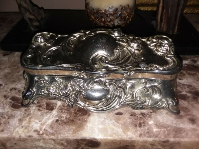 Vintage Godinger Silver Plated Jewelry, Safekeeper Footed Mirror Jewelry Cabinet