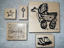 NEW BABY MOUNTED RUBBER STAMPS - BABY BUGGY- BABY SHOES -RATTLE -STAR- SENTIMENT