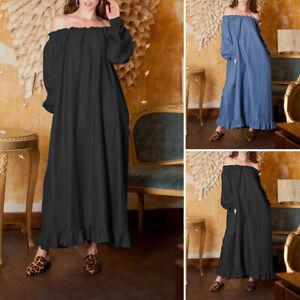 UK-Plus-Size-Women-Long-Sleeve-Off-Shouder-Bardot-Ruffle-Flared-Loose-Long-Dress