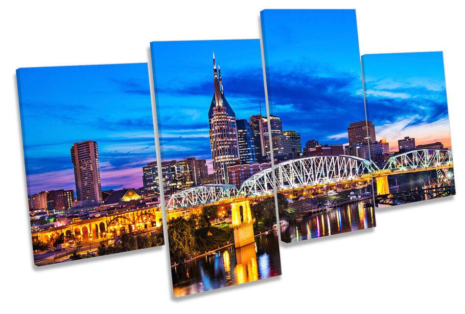 Nashville Tennessee Cityscape CANVAS Wall Art Multi Box incorniciato