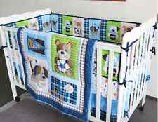 New 7 Piece Baby Boy Bedding Set Sports Dogs Balls Quilt Bumper Sheet Crib Skirt