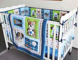 New 7 Pcs Baby Bedding Set Crib Bed Set Cartoon Little Dog Baby Crib Set Quilt Bumper Sheet Skirt Bedding Sets