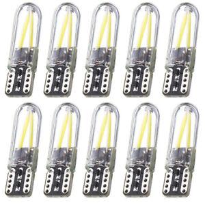 10PC-T10-194-168-W5W-COB-LED-luz-de-licencia-de-cristal-brillante-silice-Canbus-Blanco-Bombilla