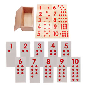 Montessori Number Puzzles Wooden Toy w/ Paper Number Cards for Kids Counting