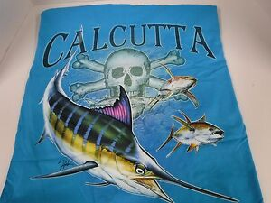 New Authentic Calcutta T Shirt Carb Blue Fade Logo Marlin Size 2XL