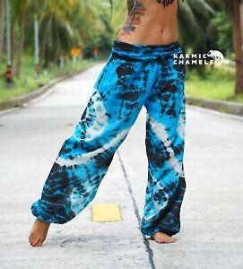 Tie-Dye-Harem-Pants-Hippie-Blue-Black-Yoga-Festival-Comfy-Boho-Gypsy-Loose