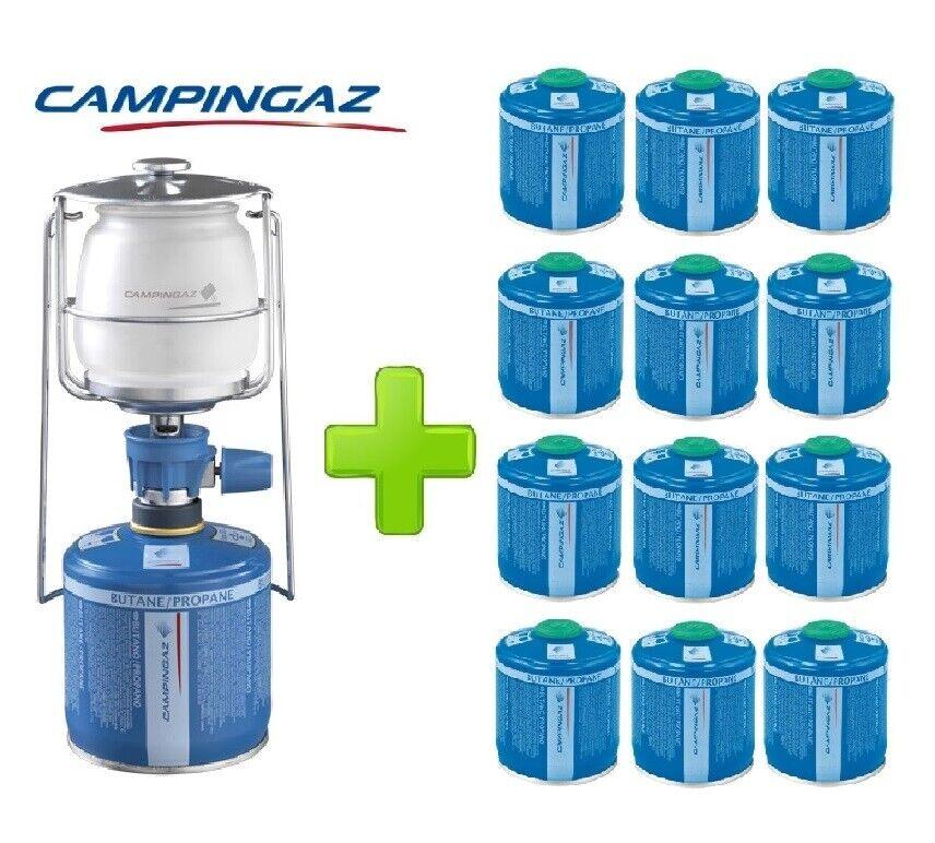 LAMPADA LANTERNA GAS LUMOGAZ PLUS CAMPINGAZ 80 WATT + 10 PEZZI CARTUCCIA CV300
