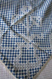 Antique-French-Beautiful-Blue-White-Checked-Embroidered-table-runner-c1920