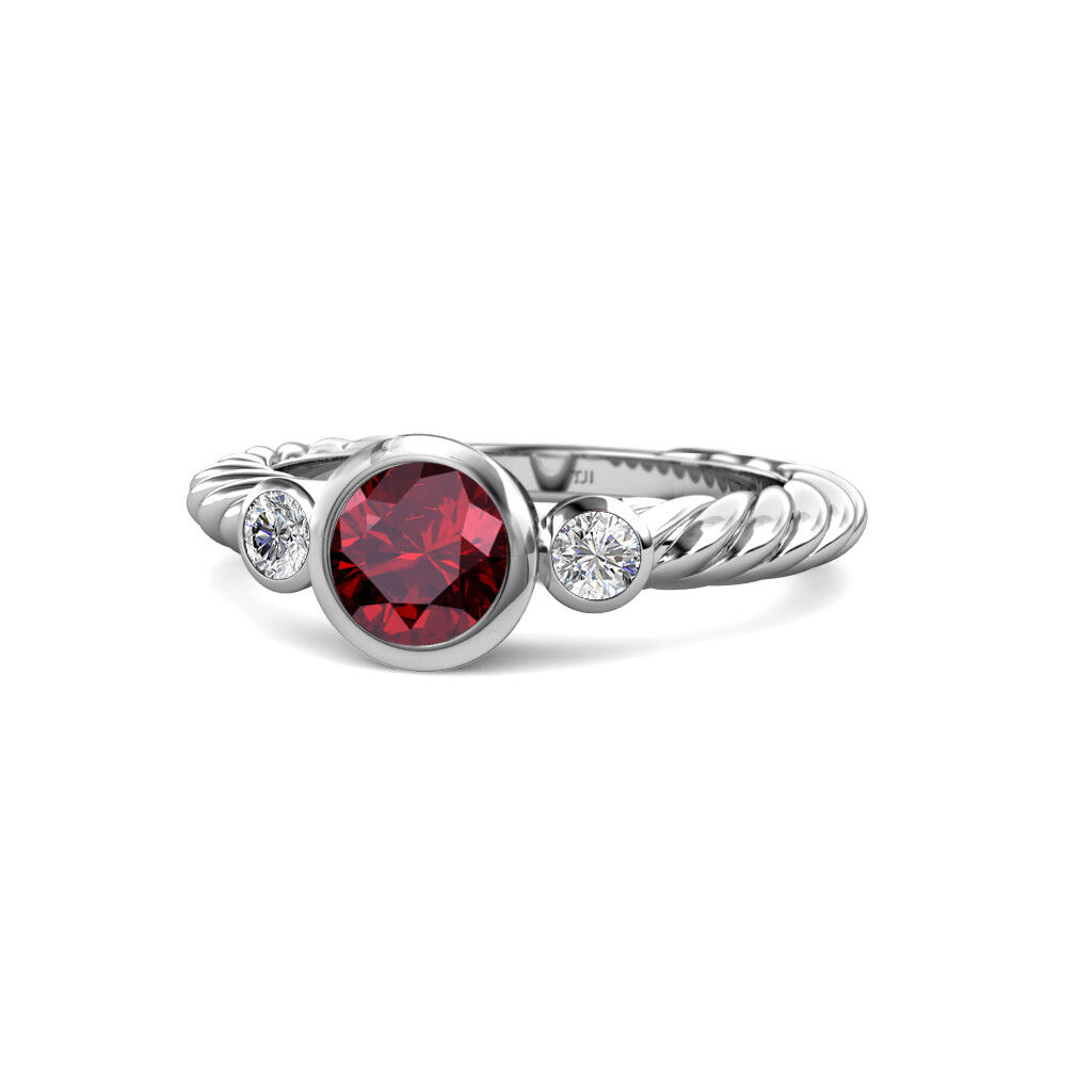Ruby and Diamond Three Stone Rope Ring 0.73 Carat tw in 14K gold JP 103753
