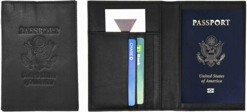 Genuine Cowhide Leather Black RFID-Blocking Passport Cover Case Holder /& Wallet