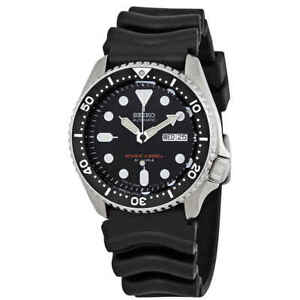 Seiko-Automatic-Black-Dial-Black-Rubber-Men-039-s-Watch-SKX007J1