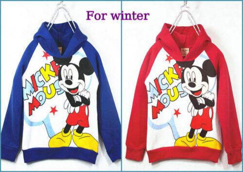 1-6 Years Mickey boys autumn winter fleece lined jacket hoodie