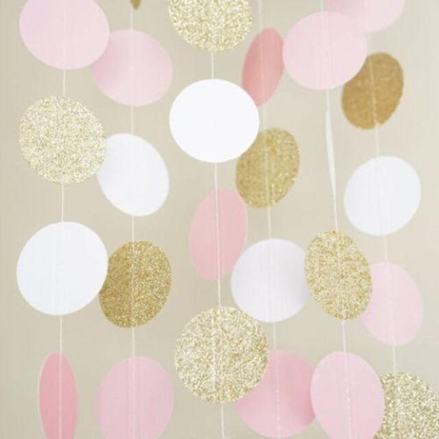 Glitter Circle Polka Dots Garland Banner Bunting Pink Gold Party Decoration Gift