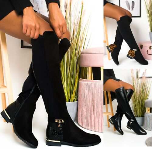 WOMENS FESTIVE WINTER KNEE HIGH BOOTS LADIES DESIGNER STYLE FLAT SHOES SIZE 3-8