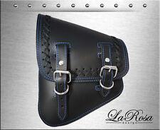 La Rosa Black Leather Blue Stitch Lace Harley Softail Chopper Left Saddle Bag
