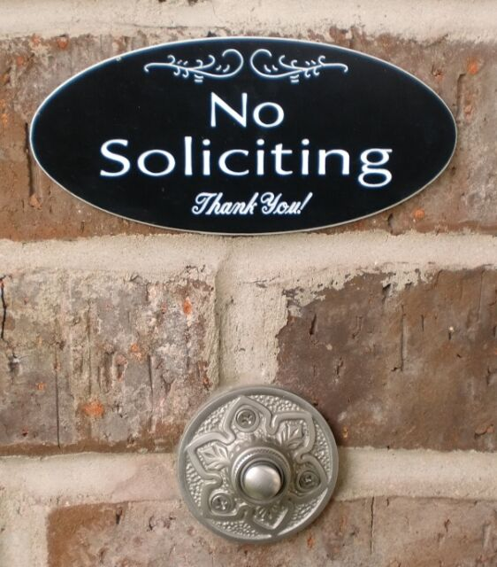 """No Soliciting Sign Engraved Plaque Home Door 5 1//2/""""  x 2 1//2/"""" Lots of Choices!"""