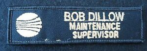 BOB-DILLOW-EMBROIDERED-SEW-ON-PATCH-MAINTENANCE-SUPERVISOR-UNIFORM-BLACK