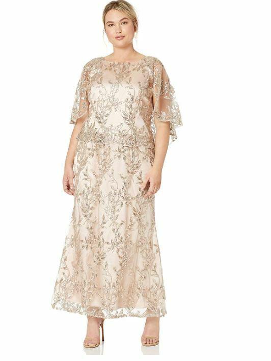 BRIANNA Formal Gown 14W Plus size Dress CAPELT Pink SEQUINS Lace