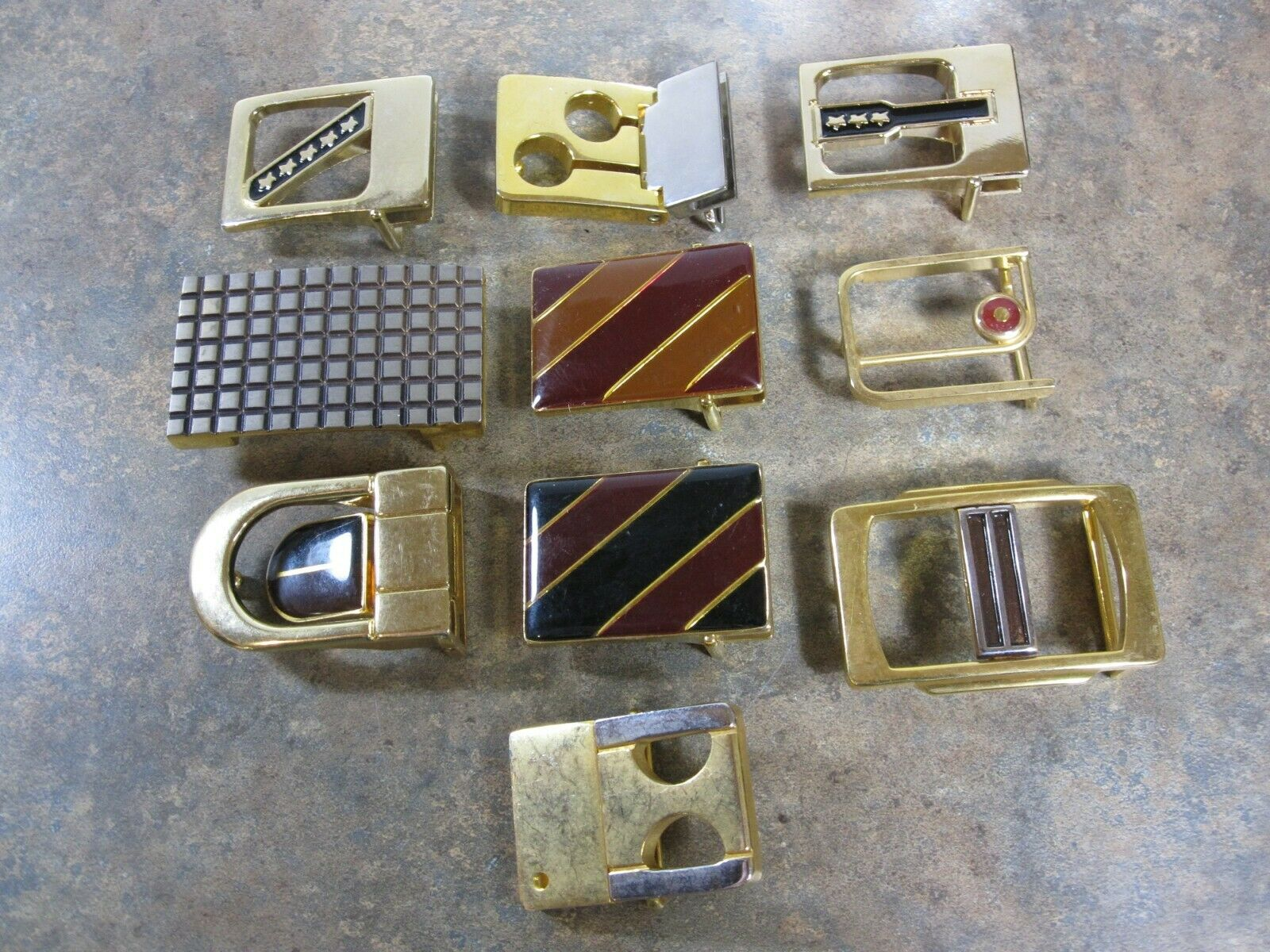 Lot of 10 Vintage Gold Tone Belt Buckles VARIOUS STYLES - Made in Italy/Spain #1