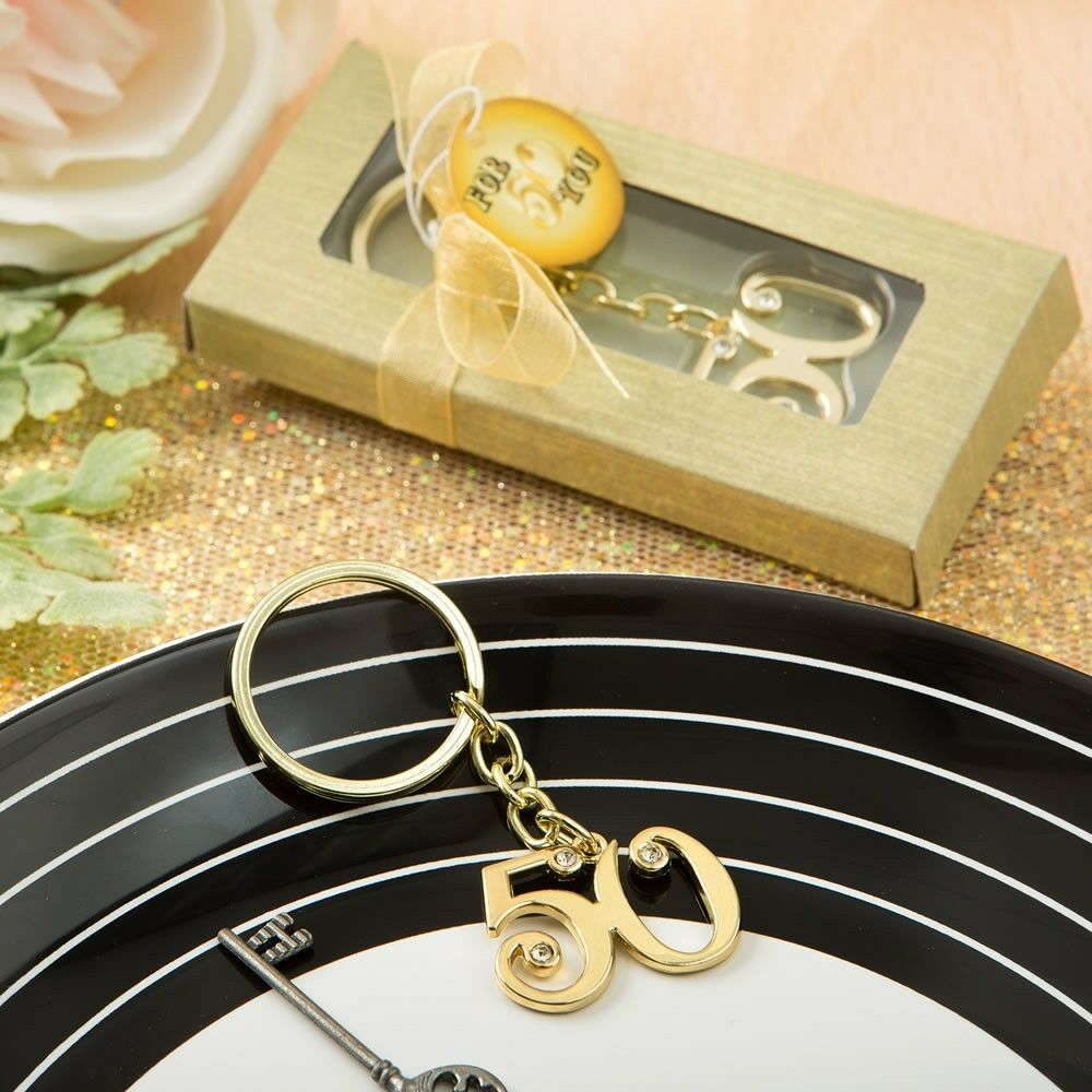 40 Gold 50th Anniversary Keychain Birthday Party Boxed Gift Favors