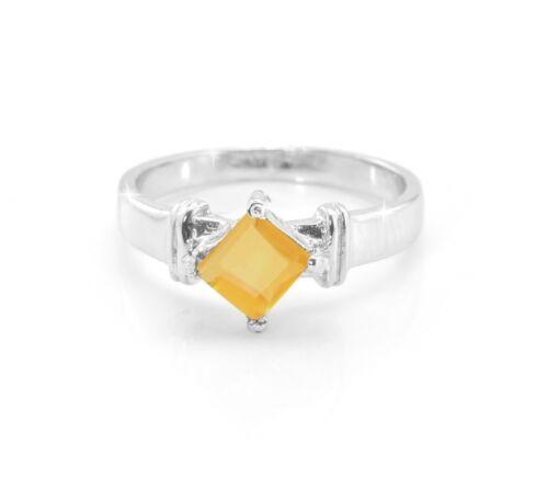 925 Sterling Silver Ring naturel jaune citrine princesse taille 5 6 7 8 9 10 11
