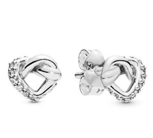 Silver-Earring-Women-Lady-Earrings-Knotted-Hearts-Stud-Earrings