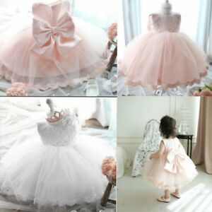 Infant-Baby-Girl-Lace-Tutu-Flower-Dress-Pageant-Party-Birthday-Wedding-Princess