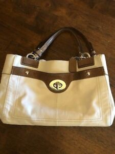 5b682da6ee Image is loading Coach-Cream-Leather-Penelope-Carryall-Purse-Satchel-with-
