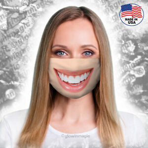 Realistic 3D smile face mask-Funny,cool big lips,white teeth-Washable & Reusable
