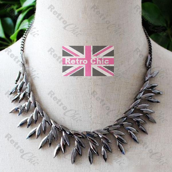 FAUX MARCASITE hematite silver BLACK GUNMETAL COLLAR NECKLACE bead choker