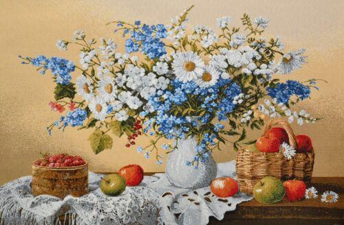 Gobelin Paneele Dekostoff Basteln Stoff Feldblumen Blumen in Vase 48x34 cm NEU