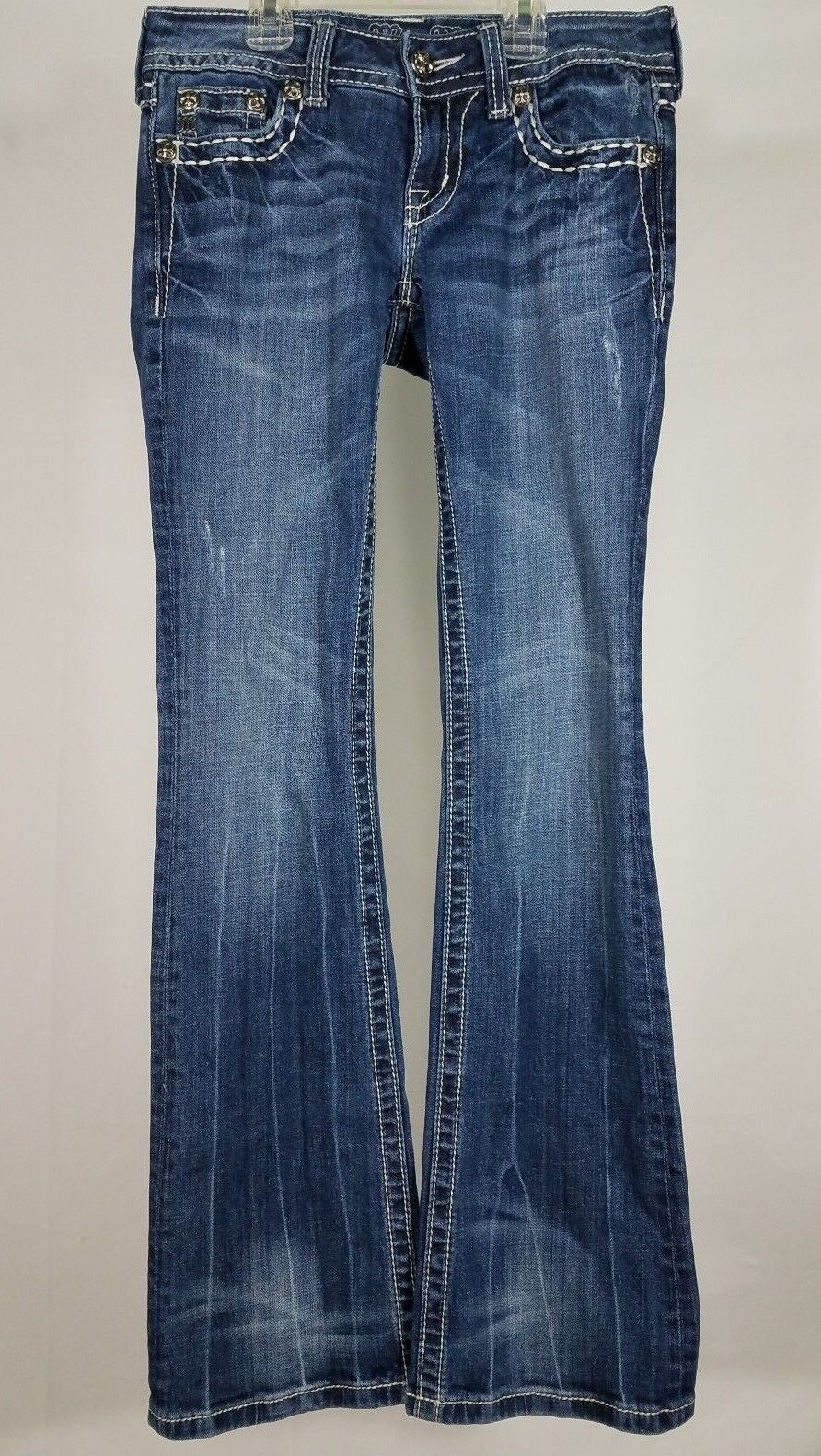 Miss Me dark wash Fleur De Lis embellished jewelled denim bluee jeans ladies 25