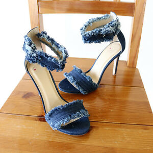 34023f120a6 Image is loading Trend-Denim-Fringe-Frayed-Edges-Ankle-Strap-Stiletto-