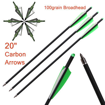 """12PC 7.5/""""//15/"""" Carbon Arrows Crossbow Bolts OD 7.5MM Screw-in Tips Hunting Arrow"""