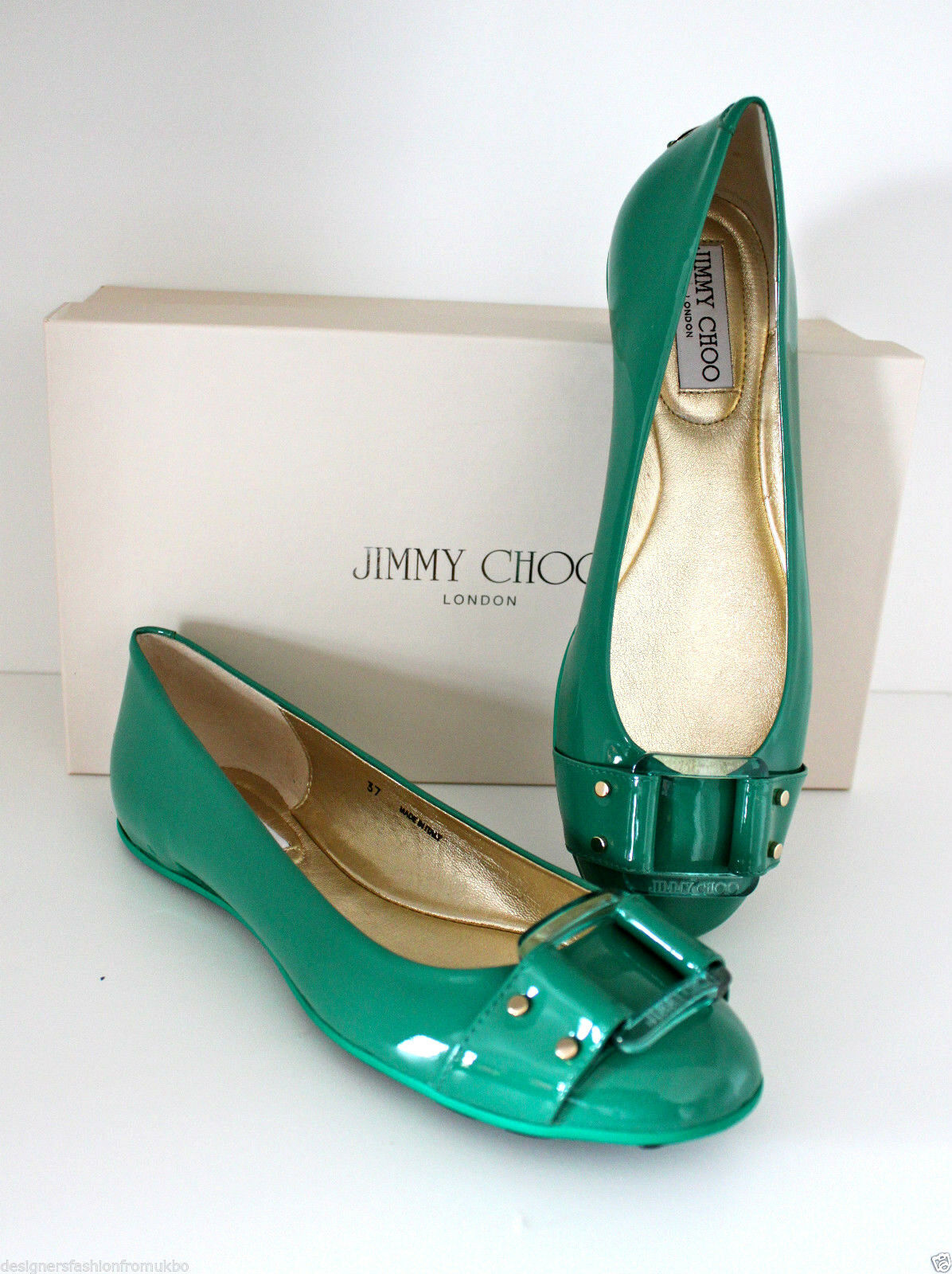JIMMY CHOO MORSE PATENT LEATHER EMERALD JADE BALLERINA FLATS SZ 37