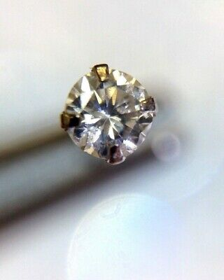 Solid 14K White Gold .10CT Real Diamond 3mm E-F SI1 Bent L Shape Nose Stud