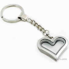 30mm Alloy Silver Heart Floating Charm Memory Locket Key Chain