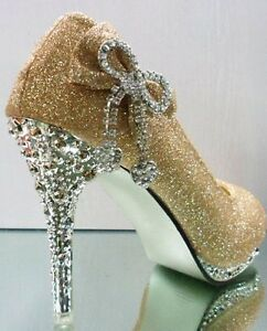 Vogue-Sparkly-Glitter-Party-Wedding-Bridesmaids-High-Heels-Sliver-Bows-Shoes