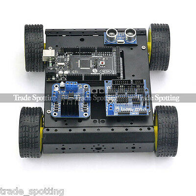 Sainsmart Mega2560 R3 + 4WD Mobile Car + L298N + HC-SR04 Kit For Arduino Robot