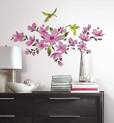 PINK FLOWERING VINES WALL DECALS Flowers & Hummingbirds NEW Stickers Birds Decor