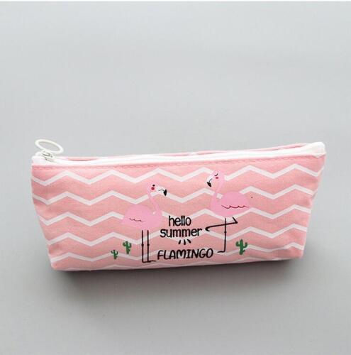 NEW 1X Canvas Federmäppchen Flamingos Schreibwaren Büro Schule Schreibwaren