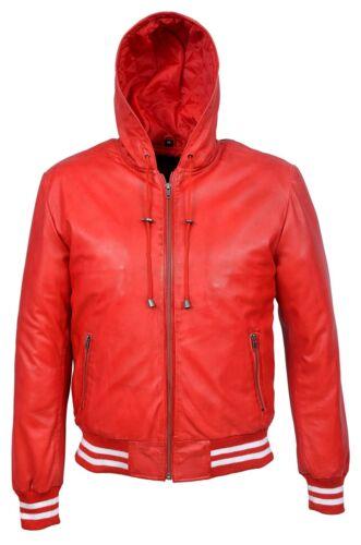 Cappotto bomber uomo stile classico donna in cappuccio con cappuccio da stile pelle rosso con da da uomo classico Napa rSq7vrw