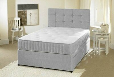 CUBED HEADBOARD SUEDE GREY DIVAN BED BASE NEW UNDER BED STORAGE