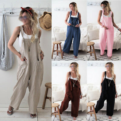Lady Casual Loose Sleeveless Baggy Jumpsuit Dungarees Playsuit Trousers Overalls 100% Garantie