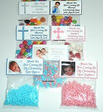50 Personalised Sweet Bag wrappers Christening Day Favours POSTED 1st CLASS