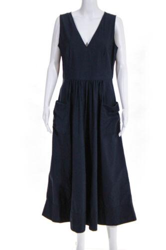 Co Womens Sleeveless Trapunto Hem Dress Navy Blue