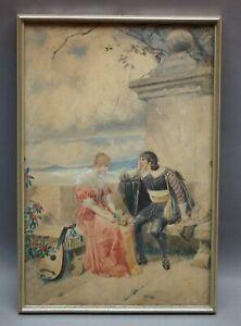 Aquarellist um 1900 - Das Rendezous - Paar an Mauer mit romantischem Ausblick